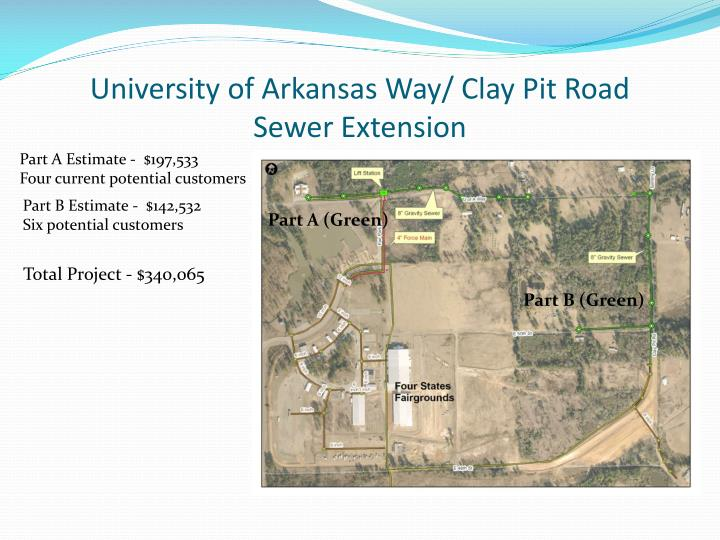 University of Arkansas Way/ Clay Pit Road     Sewer Extension