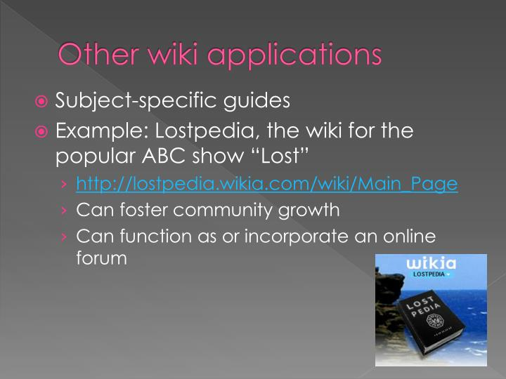 Other wiki applications