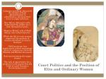 court politics and the position of elite and ordinary women