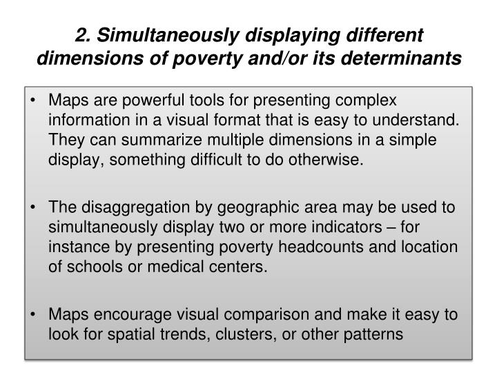 2. Simultaneously displaying different dimensions of poverty and/or its determinants