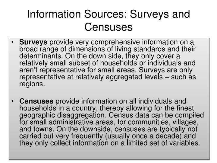 Information Sources: Surveys and Censuses