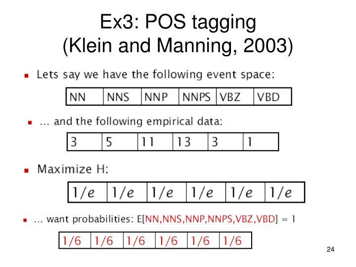 Ex3: POS tagging
