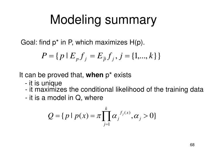 Modeling summary
