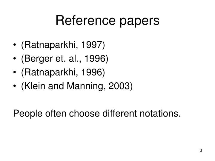 Reference papers