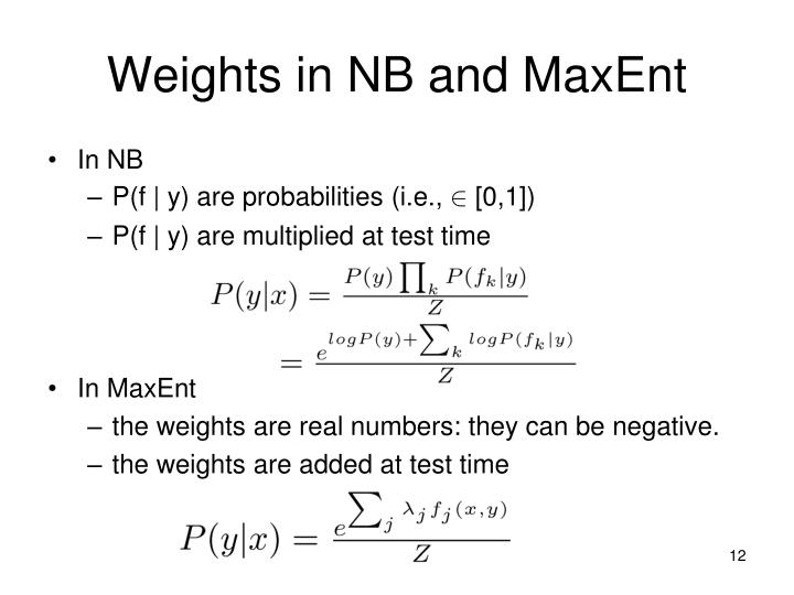 Weights in NB and