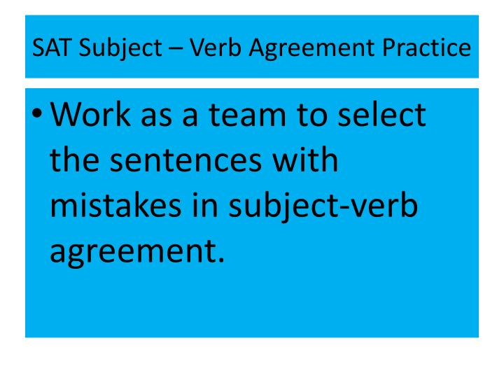 SAT Subject – Verb Agreement Practice