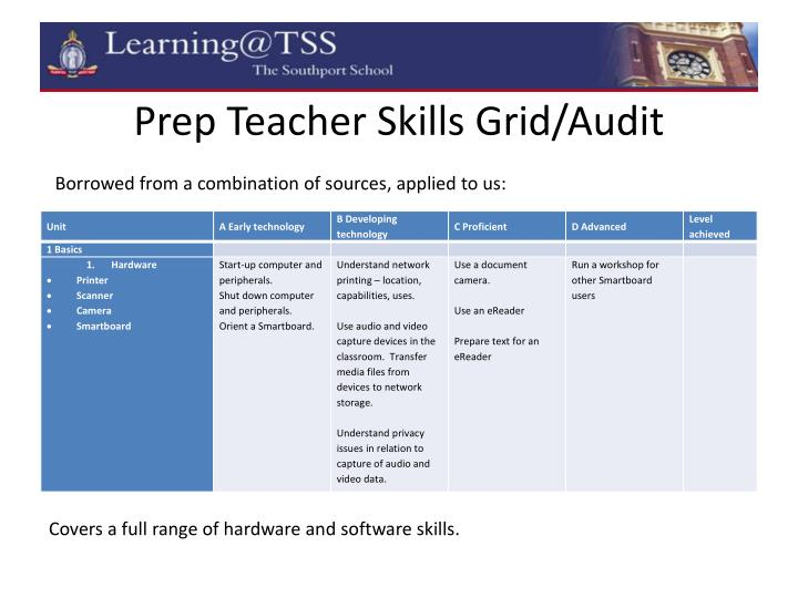 Prep Teacher Skills Grid/Audit