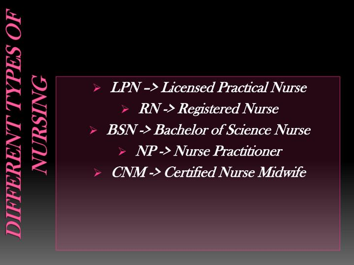 Different types of nursing