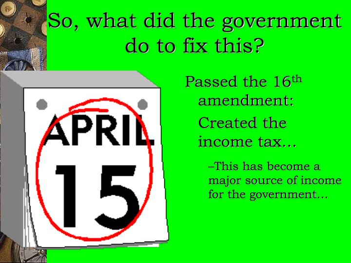 So, what did the government do to fix this?