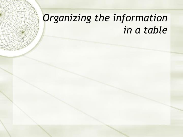 Organizing the information