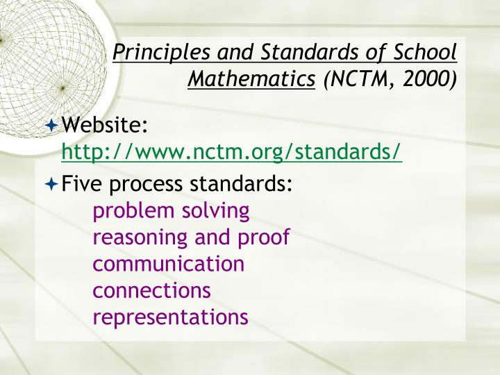 Principles and standards of school mathematics nctm 2000