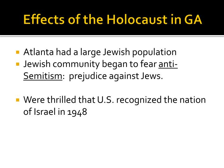 Effects of the Holocaust in GA