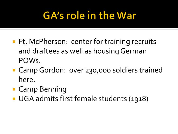 GA's role in the War