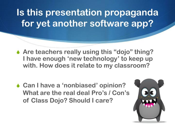 Is this presentation propaganda for yet another software app?