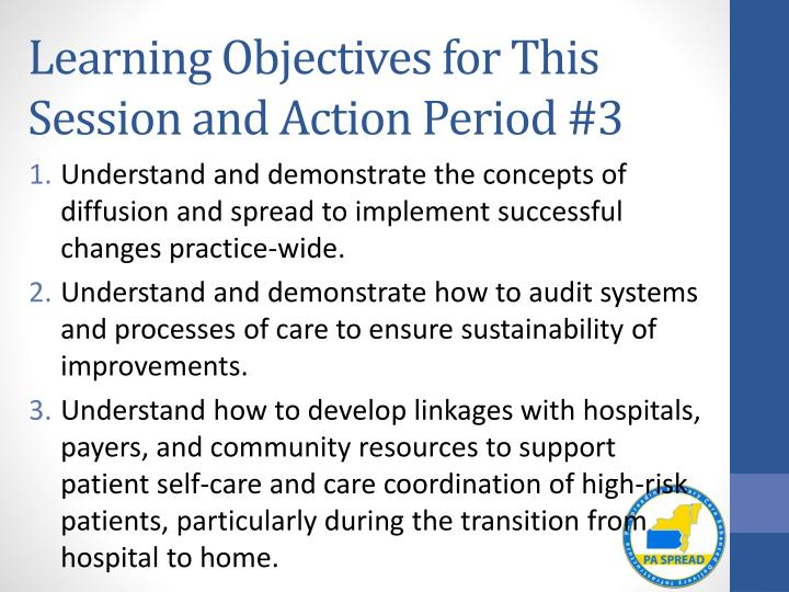 Learning Objectives for This Session and Action Period #3