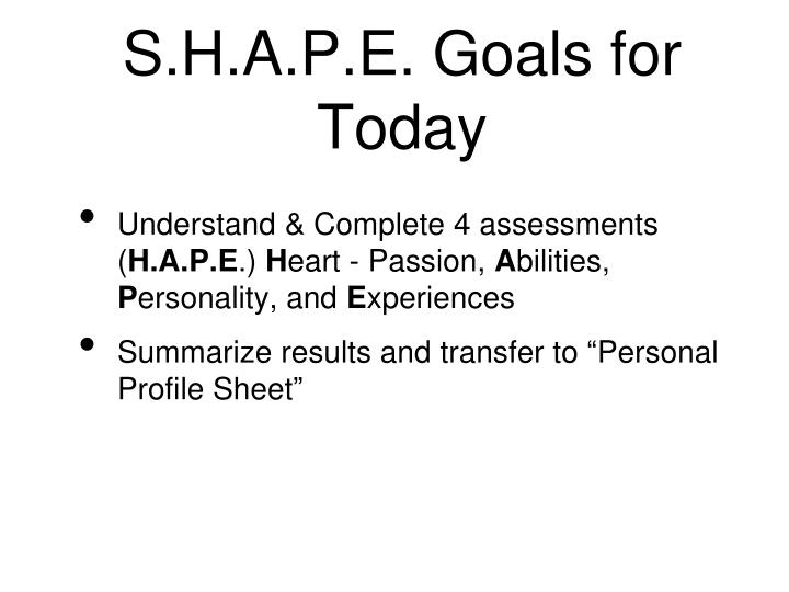 S h a p e goals for today