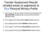 transfer assessment results shaded areas on paperwork to blue personal ministry profile