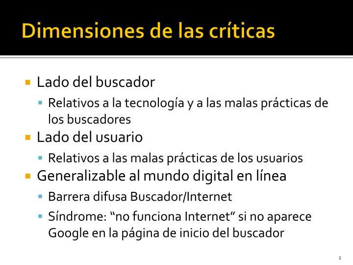 Dimensiones de las críticas
