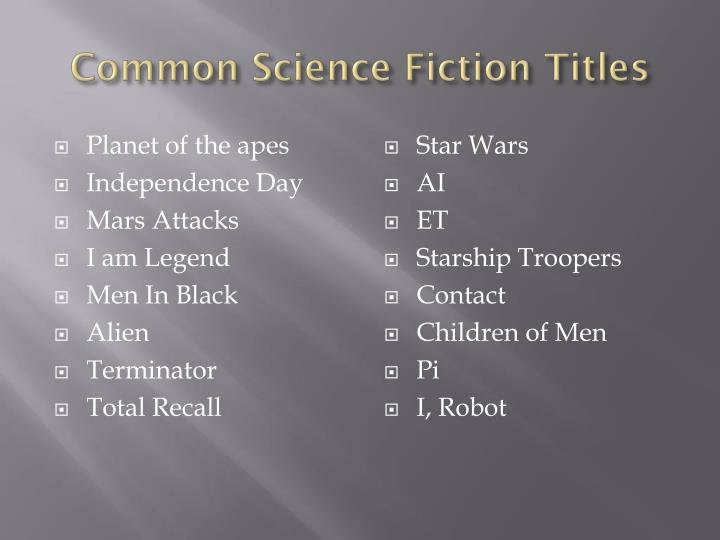 Common Science Fiction Titles
