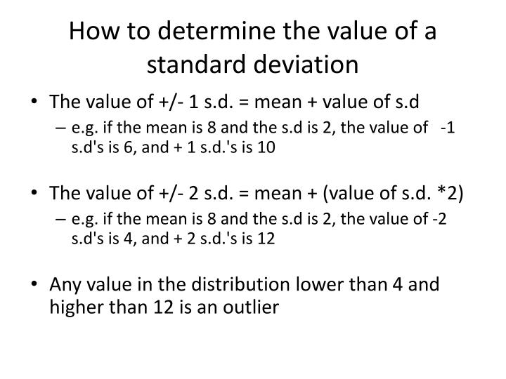 How to determine the value of a standard deviation