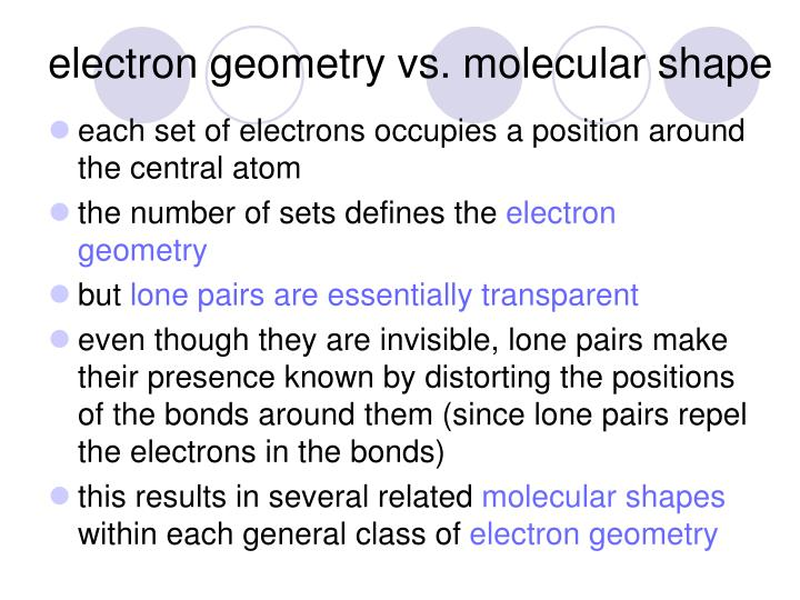 electron geometry vs. molecular shape