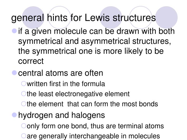 general hints for Lewis structures