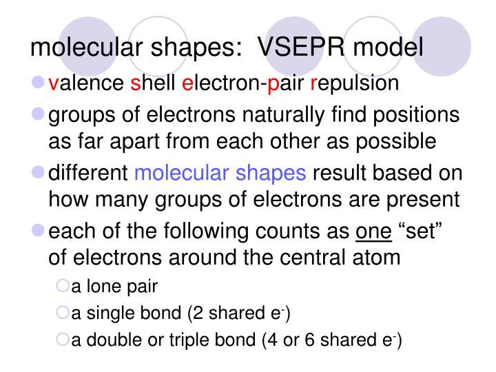 molecular shapes:  VSEPR model