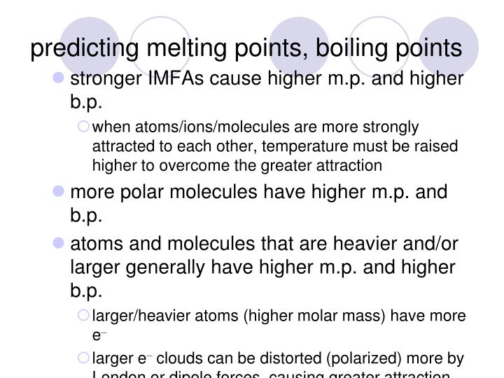 predicting melting points, boiling points