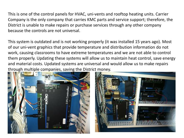 This is one of the control panels for HVAC,