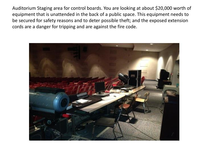 Auditorium Staging area for control boards. You are looking at about $20,000 worth of equipment that is unattended in the back of a public space. This equipment needs to be secured for safety reasons and to deter possible theft; and the exposed extension cords are a danger for tripping and are against the fire code.