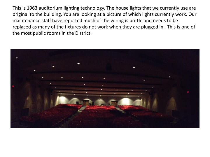 This is 1963 auditorium lighting technology. The