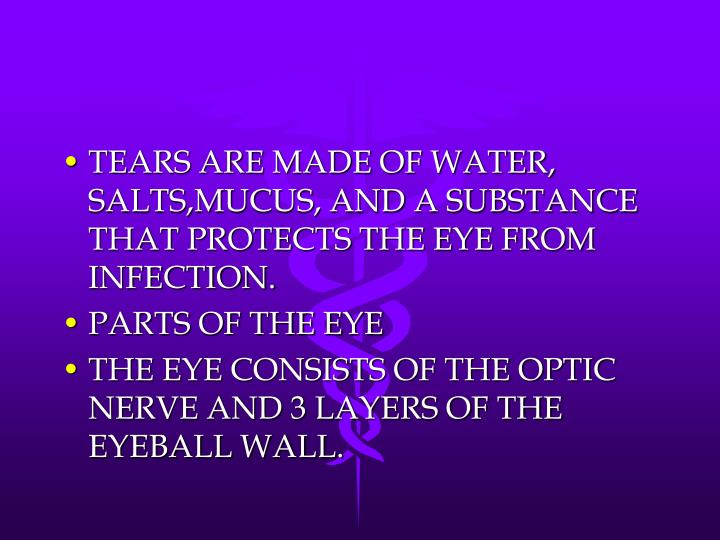 TEARS ARE MADE OF WATER, SALTS,MUCUS, AND A SUBSTANCE THAT PROTECTS THE EYE FROM INFECTION.