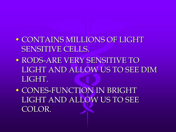 CONTAINS MILLIONS OF LIGHT SENSITIVE CELLS.