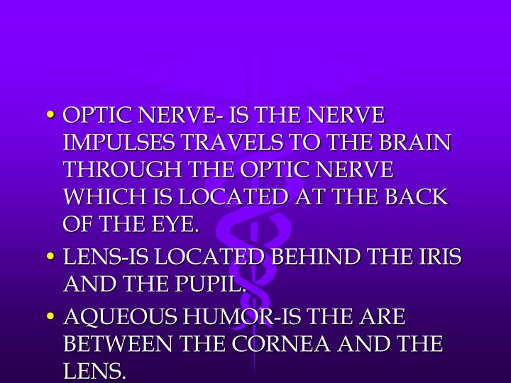 OPTIC NERVE- IS THE NERVE IMPULSES TRAVELS TO THE BRAIN THROUGH THE OPTIC NERVE WHICH IS LOCATED AT THE BACK OF THE EYE.