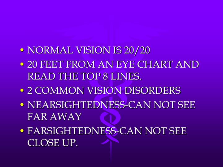 NORMAL VISION IS 20/20