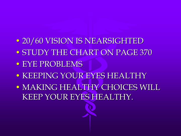 20/60 VISION IS NEARSIGHTED