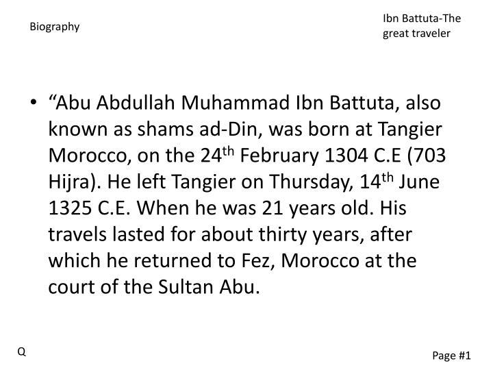 Ibn Battuta-The great traveler