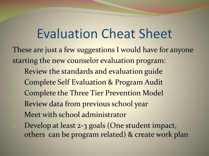 Evaluation Cheat Sheet