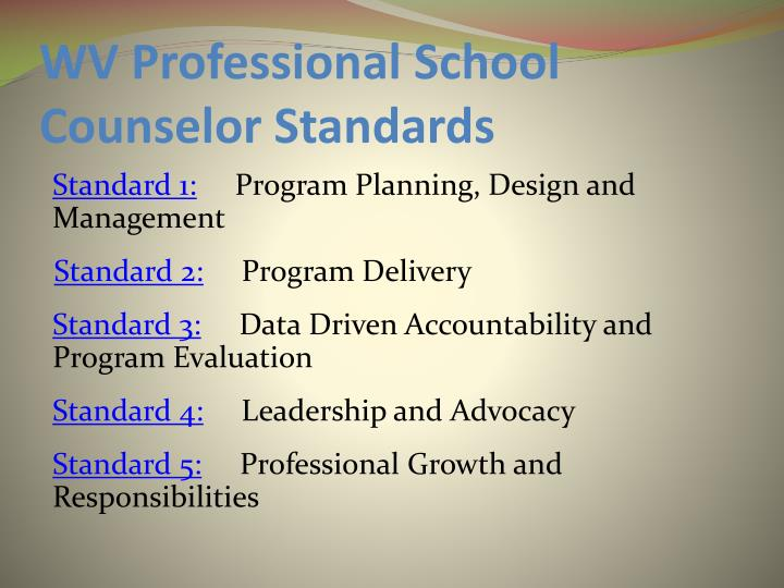 WV Professional School Counselor Standards