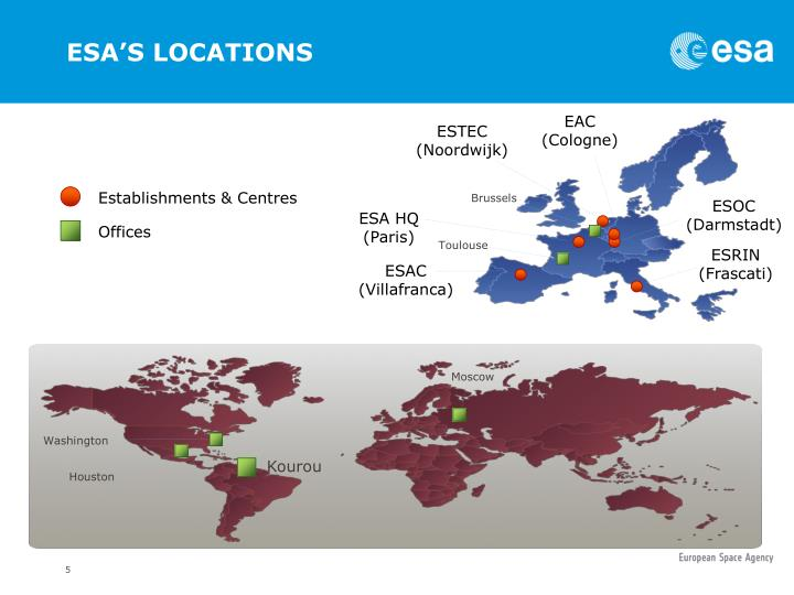 ESA'S LOCATIONS