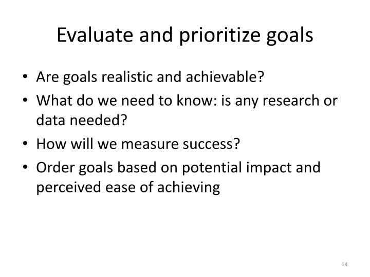 Evaluate and prioritize goals