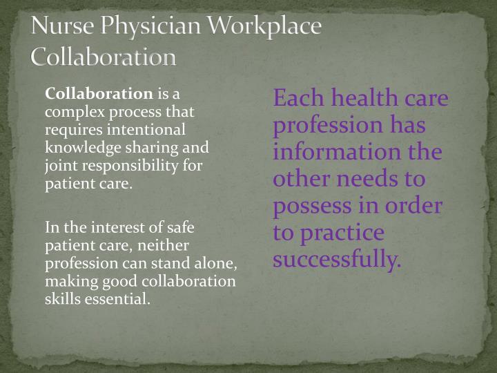 Nurse Physician Workplace Collaboration