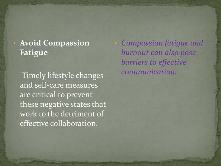 Avoid Compassion Fatigue