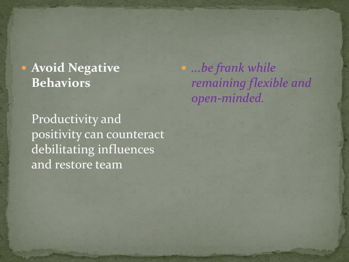 Avoid Negative Behaviors