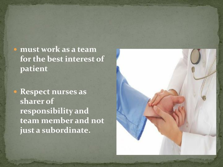 must work as a team for the best interest of patient