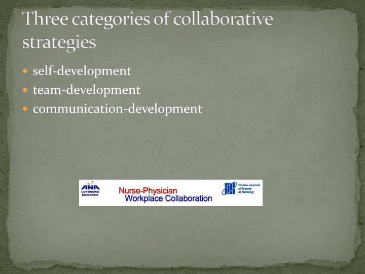 Three categories of collaborative strategies
