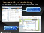 use content in more effectively simple access to information from both sharepoint and office