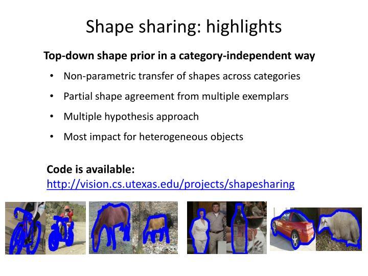 Shape sharing: highlights