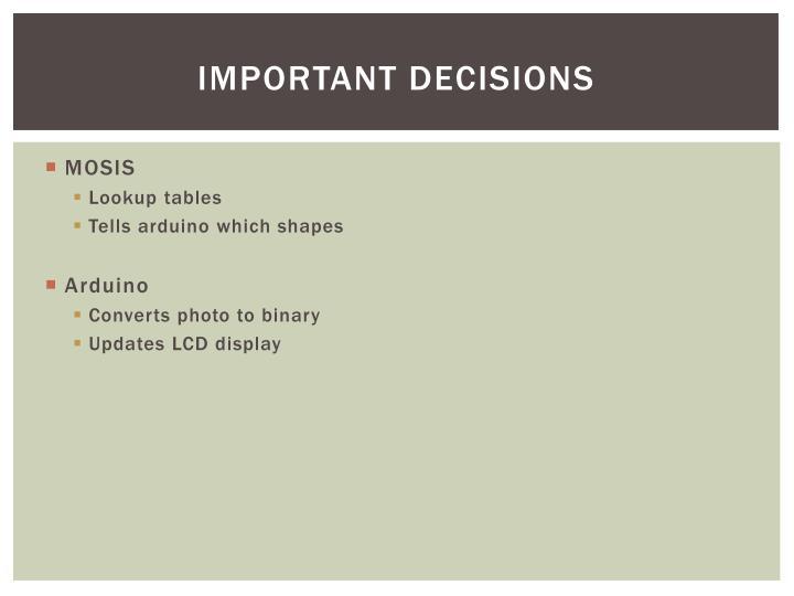 Important decisions