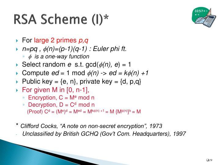 RSA Scheme (I)*